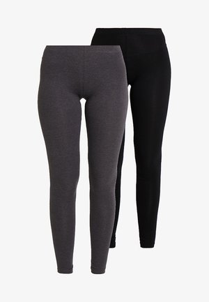 2 PACK - Leggings - black/dark grey melange