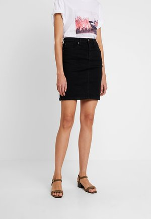 DENIM SKIRT PENCIL - Áčková sukně - black denim