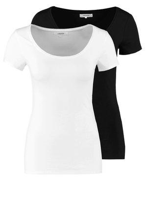 2 PACK - Basic T-shirt - black/white