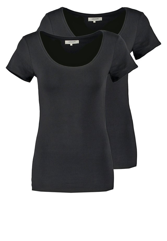 2 PACK - Basic T-shirt - black/black