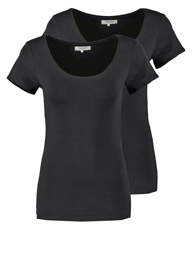 Zalando Essentials - 2 PACK - T-shirt - bas - black/black