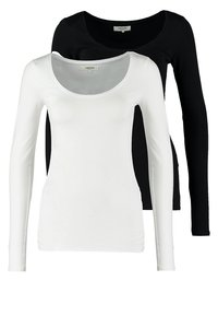 Zalando Essentials - 2 PACK - Topper langermet - black/white - 0