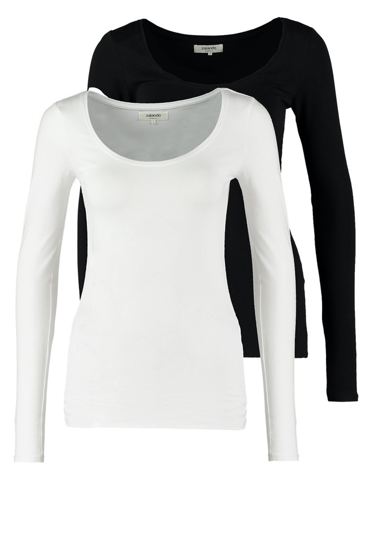Zalando Essentials - 2 PACK - Topper langermet - black/white