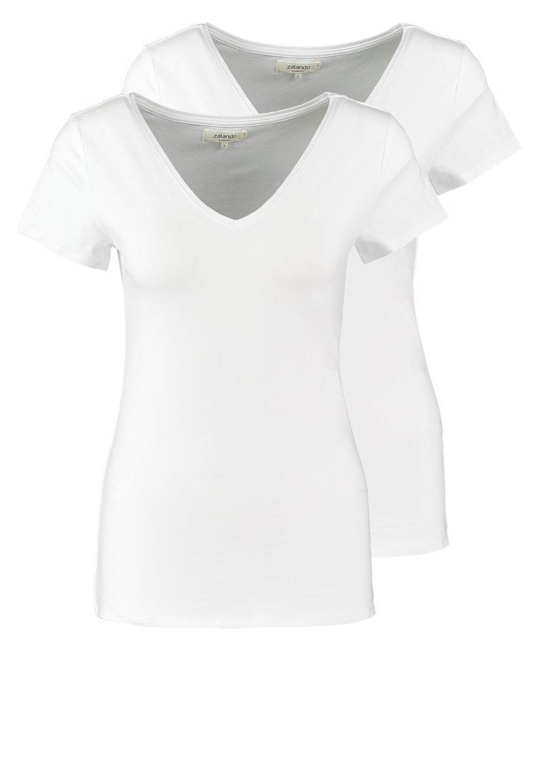 Zalando Essentials - 2 PACK - Camiseta básica - white/white