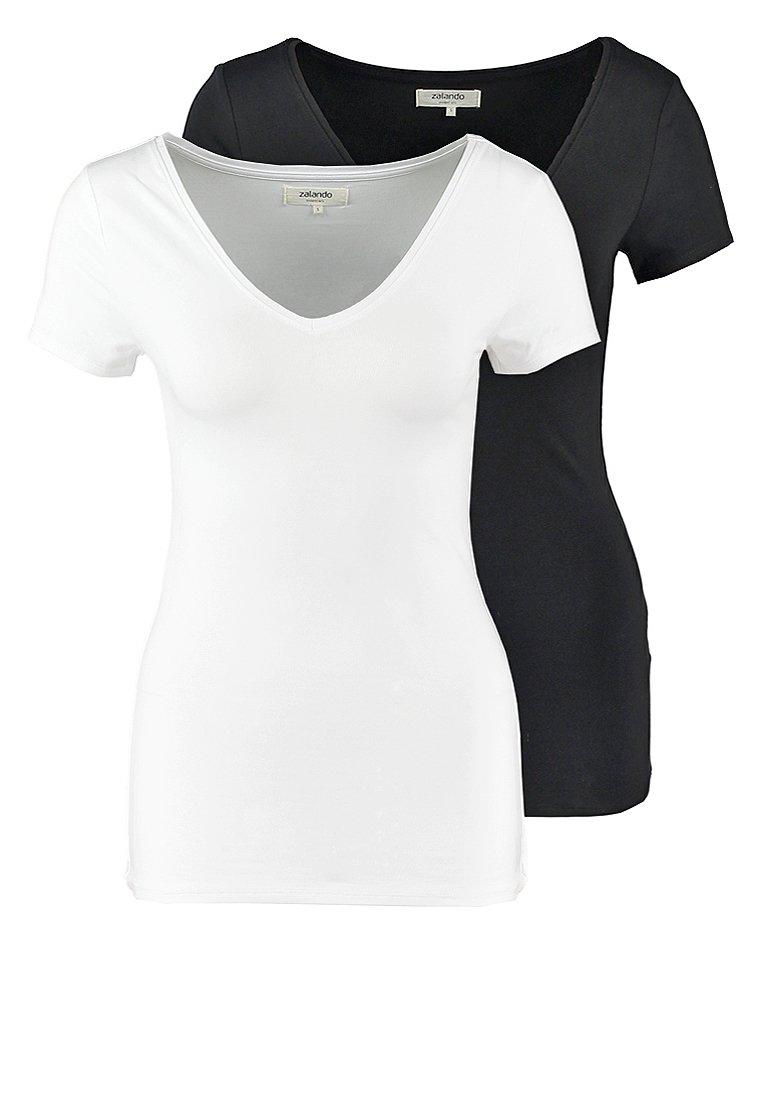 Zalando Essentials - 2 PACK - T-shirt basique - black/white