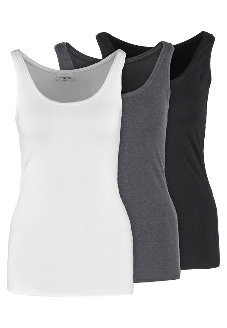 Zalando Essentials - 3 PACK - Top - black/white/dark grey