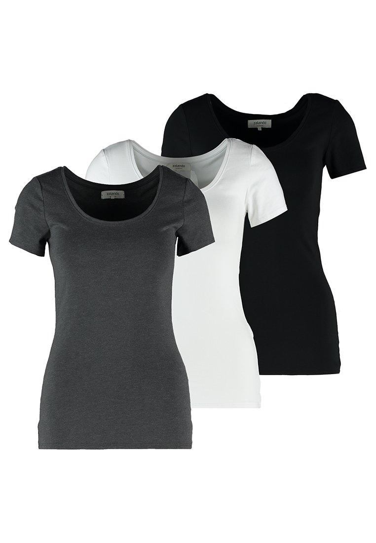 Zalando Essentials - 3 PACK - Camiseta básica - black/white/dark grey