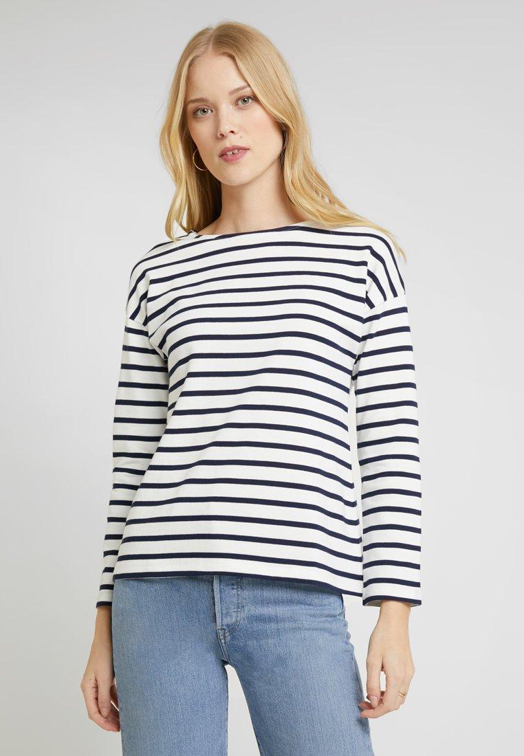 Zalando Essentials - T-shirt à manches longues - white/dark blue