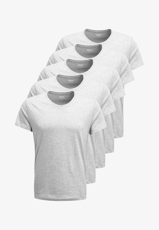 5 PACK - T-shirts basic - mottled light grey