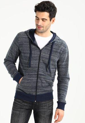 Mikina na zip - mottled dark blue