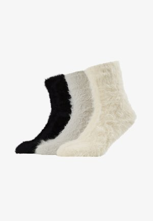 3 PACK - Ponožky - off-white/black/grey