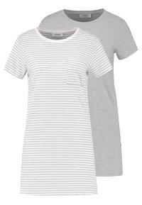 Zalando Essentials - 2 PACK - Nattskjorte - light grey/white - 0