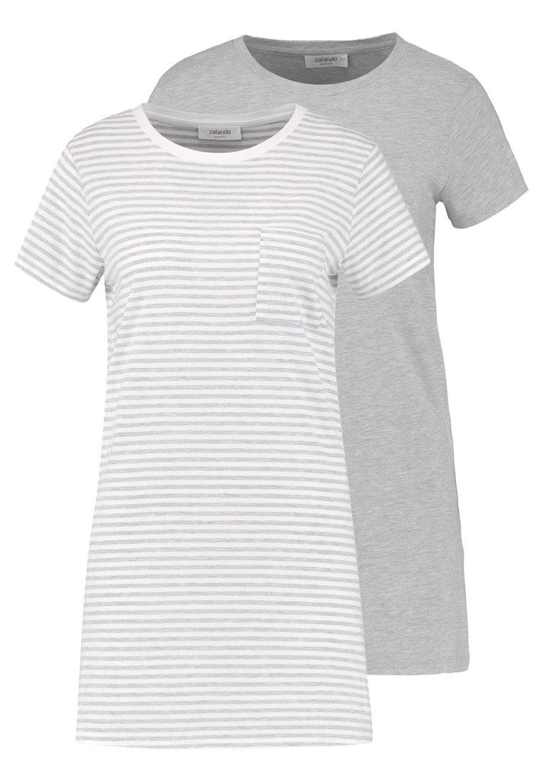 Zalando Essentials - 2 PACK - Nattskjorte - light grey/white