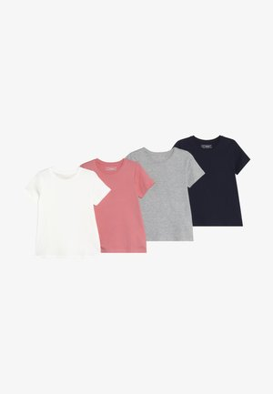 4 PACK - Basic T-shirt - melange/strawberry