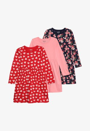 3 PACK - Jersey dress - peacoat/pink/red