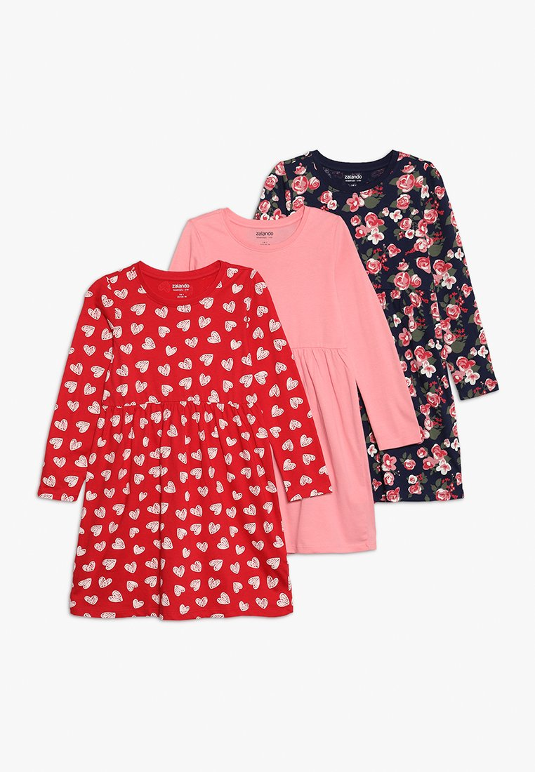 Zalando Essentials Kids - 3 PACK - Jerseyklänning - peacoat/pink/red