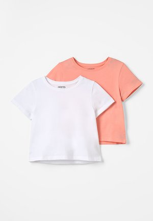 2 PACK - Print T-shirt - peach amber/white