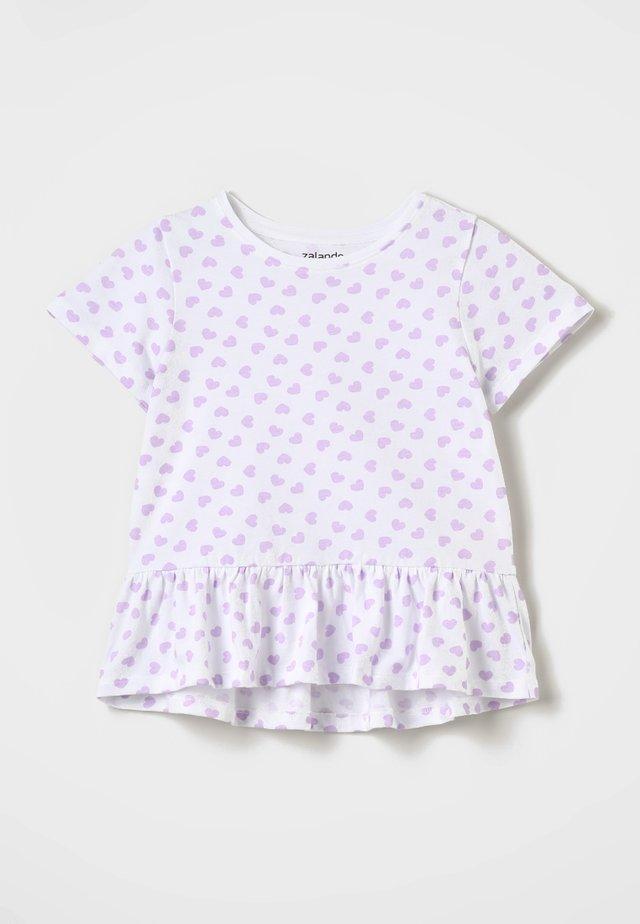 T-shirt med print - lavendula/white