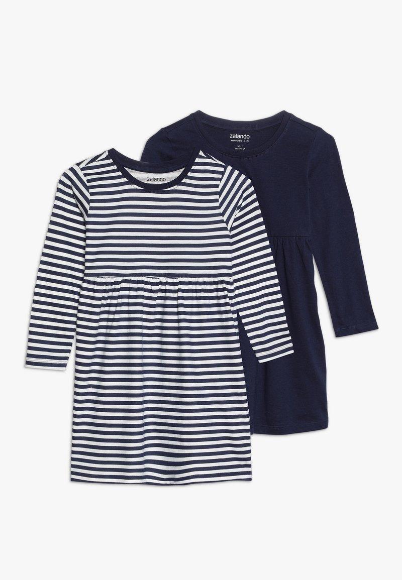 Zalando Essentials Kids - 2 PACK - Robe en jersey - peacoat/winter white