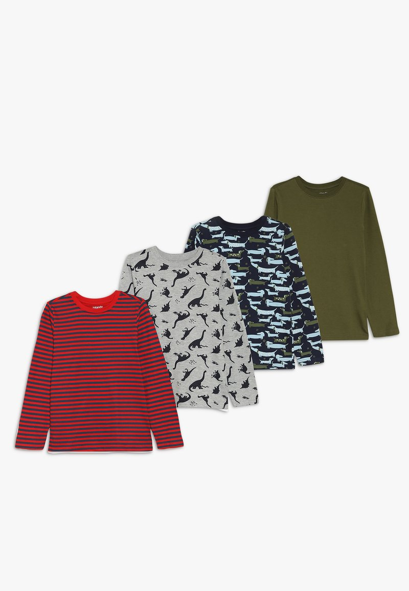 Zalando Essentials Kids - 4 PACK - Långärmad tröja - light grey melange/red