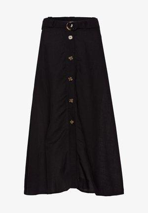 MIT KNOPFLEISTE - A-line skirt - black