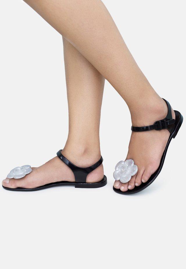 FLOWER - T-bar sandals - black