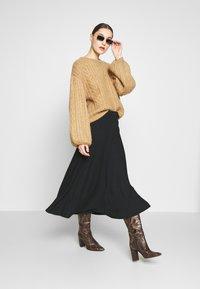 Zign - BIAS CUT SKIRT  - A-line skirt - black - 1