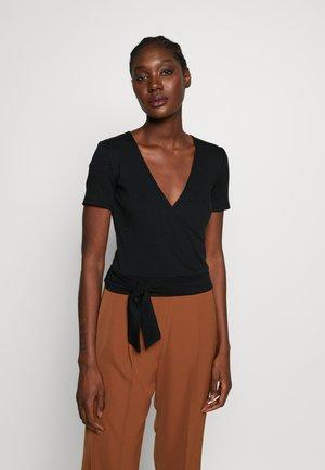 TIE FRONT WRAP - Print T-shirt - black