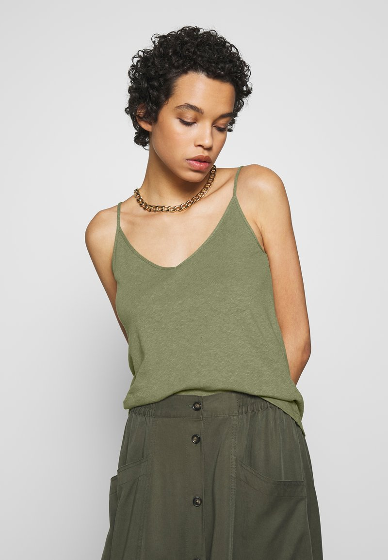 Zign - LINEN MIX - Top - martini olive