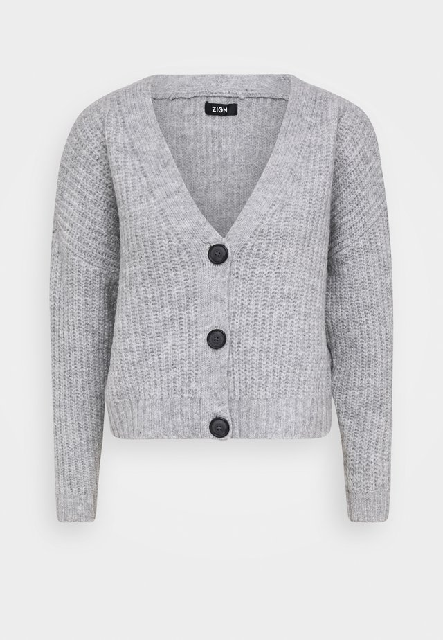 CROPPED  CHUNKY CARDIGAN - Cardigan - mottled light grey