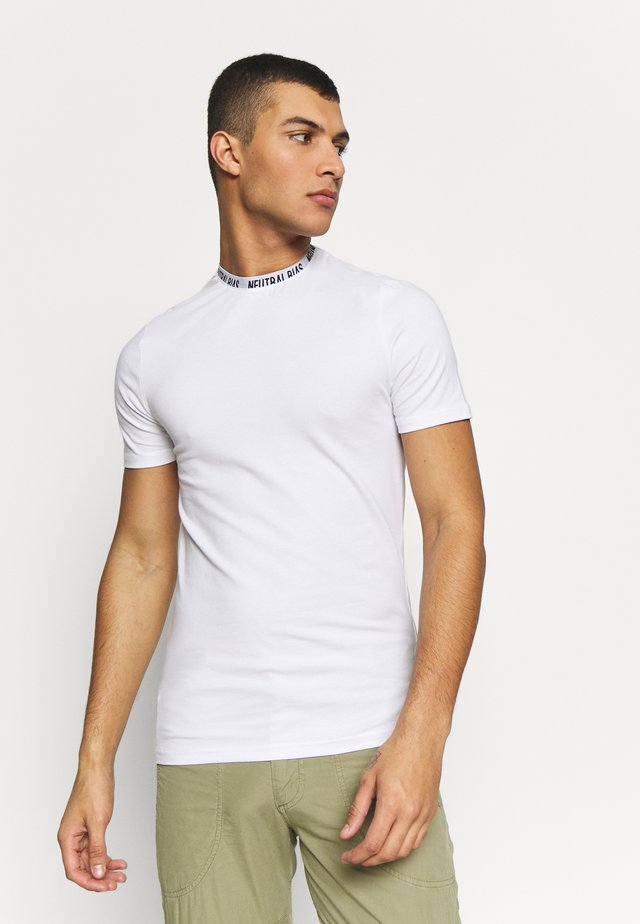 WORDING NECK TEE - T-shirt z nadrukiem - white