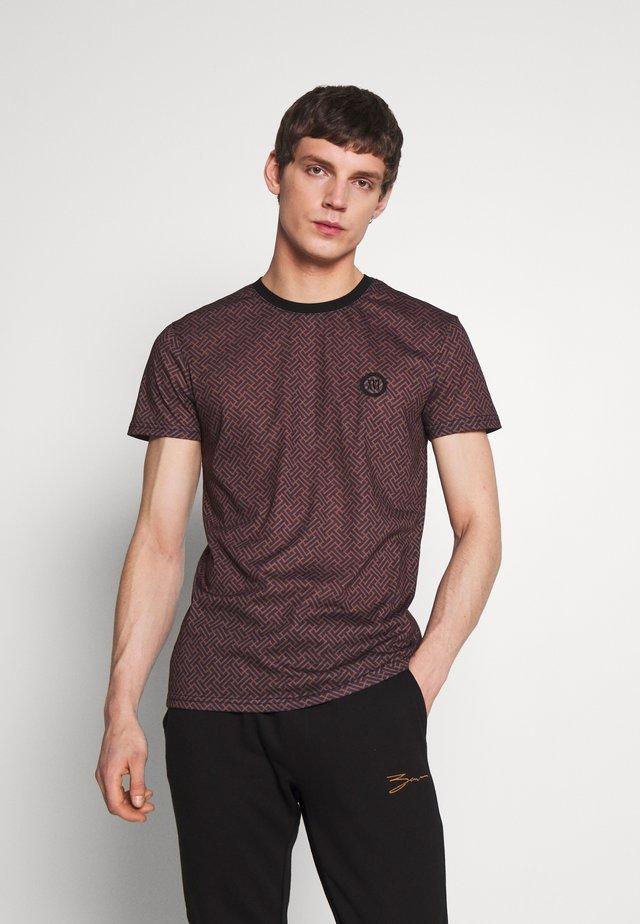 Print T-shirt - cognac/black