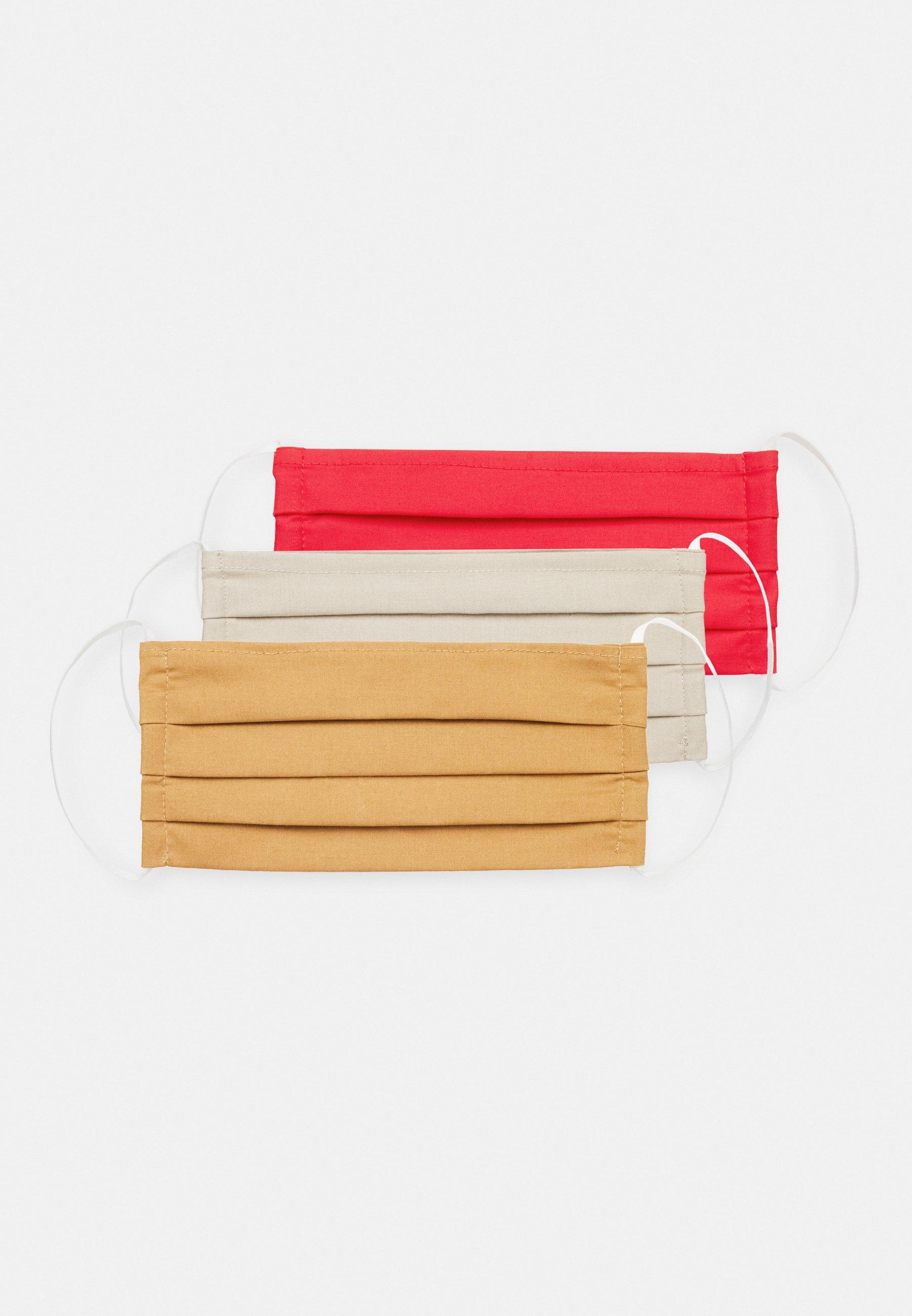 Zign 3 PACK - Maska z tkaniny - red/taupe/camel