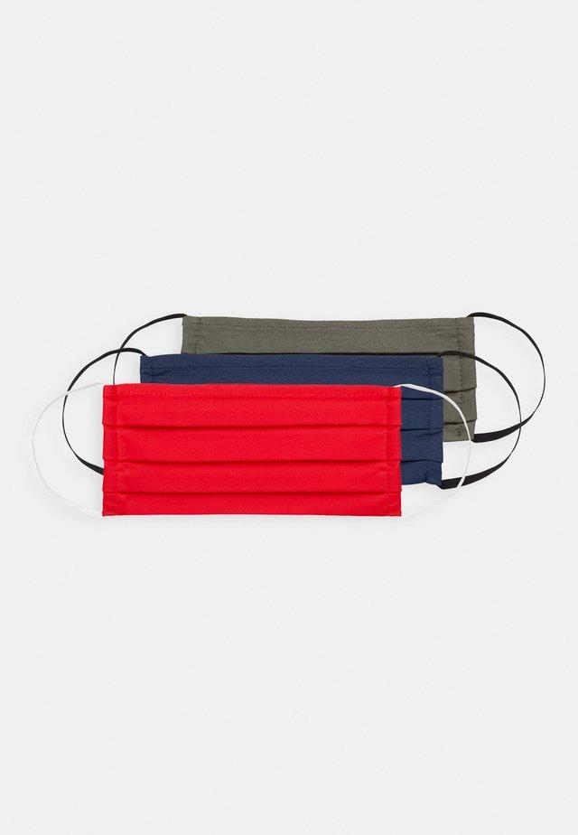 3 PACK - Stoffen mondkapje - khaki/dark blue/red