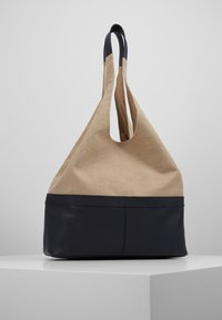 Zign - LEATHER/COTTON - Torba na zakupy - navy - 2