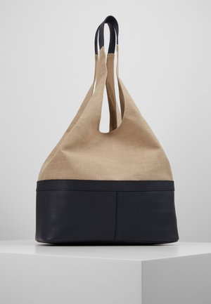LEATHER/COTTON - Shopping bag - navy