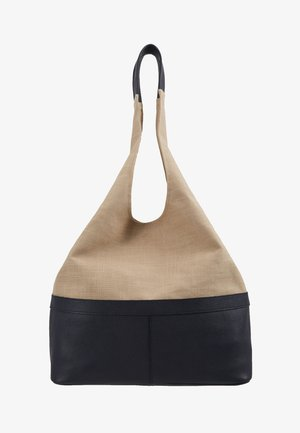 LEATHER/COTTON - Bolso shopping - navy