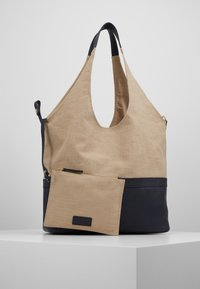 Zign - LEATHER/COTTON - Shopping bag - navy