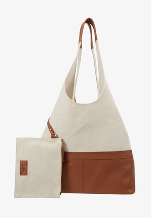 LEATHER/COTTON - Shopping bag - cognac