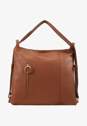 LEATHER SHOULDER BAG / BACKPACK - Rucksack - cognac