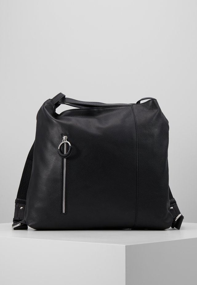 LEATHER SHOULDER BAG / BACKPACK - Rucksack - black