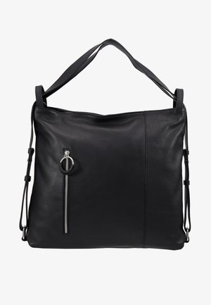 LEATHER SHOULDER BAG / BACKPACK - Batoh - black