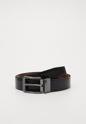 LEATHER - Belt - black/cognac