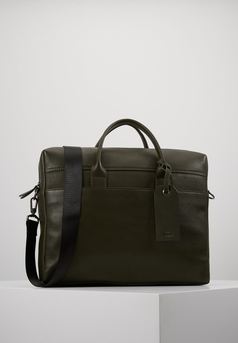 Zign - LEATHER - Aktovka - dark green