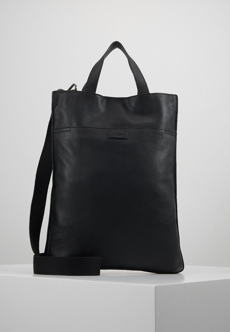 Zign - UNISEX LEATHER - Shoppingveske - black