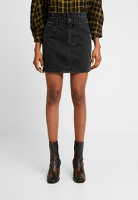 ZIGGY Denim - CINCH IT SKIRT - Falda vaquera - black moon - 0