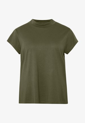 SLIM FIT TEE WITH TURTLE-NECK - T-shirt basic - olive night