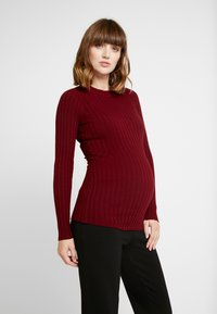 Zign Maternity - MATERNITY RIBBED JUMPER - Neule - bordeaux - 0