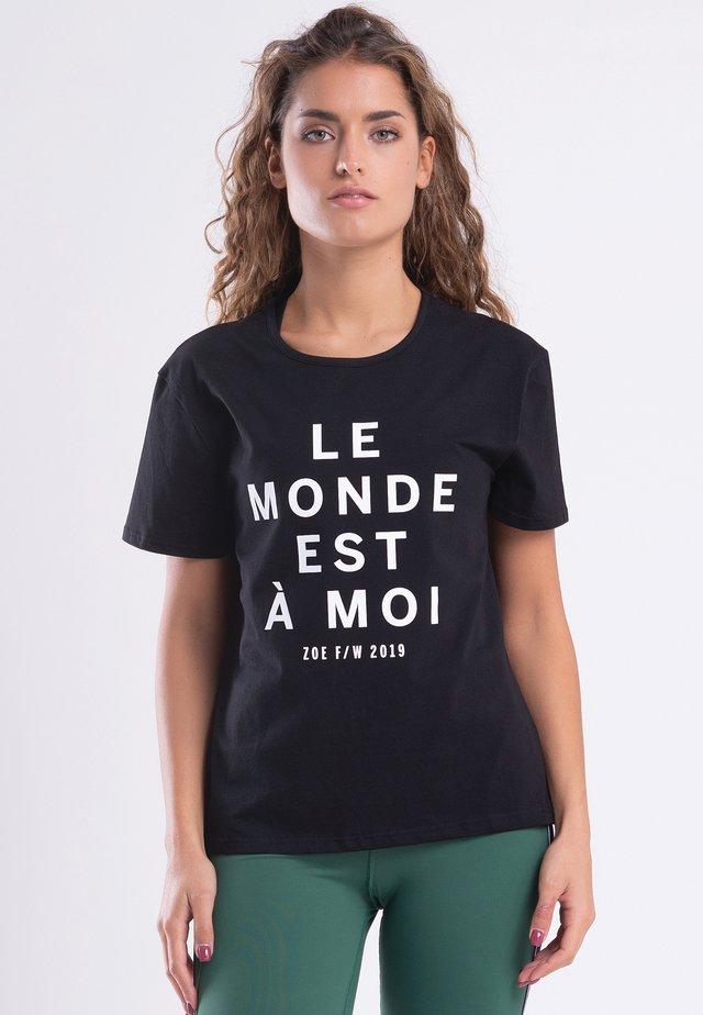 LE MONDE - T-shirt print - black