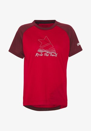 PURE FLOWZ  - Print T-shirt - jester red/windsor wine/fog green